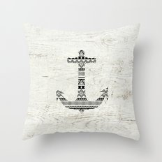 Aztec Nautical Anchor Black White Vintage Wood Throw Pillow