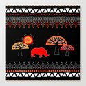 African Rhino (Hot colors) Canvas Print