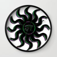 Green Egyptian Sun Wall Clock