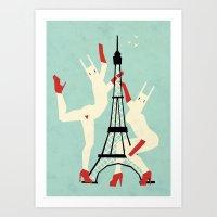 Paris bunnies Art Print