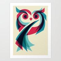 owl Art Prints featuring Owl by Jay Fleck