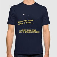 When you wish upon a Star/Space Station Mens Fitted Tee Navy SMALL