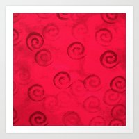 Festive Red Spirals Art Print