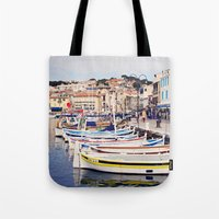 Boats In Cassis Harbor Tote Bag