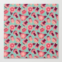 flat flowers - pattern Canvas Print