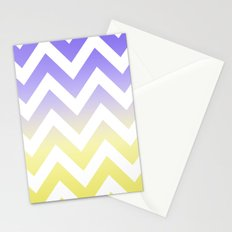 BLUE & YELLOW CHEVRON FADE Stationery Cards