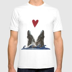Whales in Love White SMALL Mens Fitted Tee