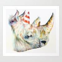 Rhino's Party Art Print