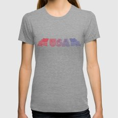 USA Banner Womens Fitted Tee Tri-Grey SMALL
