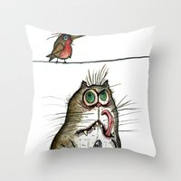A Cat Ponders, Fish Or P… Throw Pillow