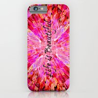 LIFE IS BEAUTIFUL Bold Pink Bird Feathers Ocean Waves Painting Sea Romantic Love Girlie Abstract iPhone 6 Slim Case
