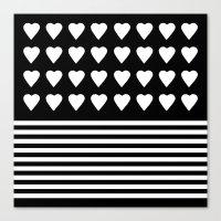 Heart Stripes White On B… Canvas Print