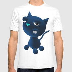 Light Blue Cat Mens Fitted Tee SMALL White
