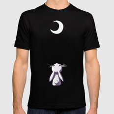 Moon Bunny Mens Fitted Tee Black SMALL