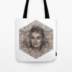 Audrey Hepburn dot work portrait Tote Bag