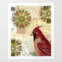 Cardinal and Ephemera Art Print