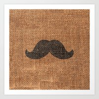 Black Funny Mustache On … Art Print