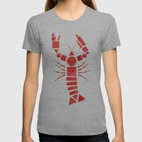 Geometric Lobster Womens Fitted Tee Athletic Grey SMALL
