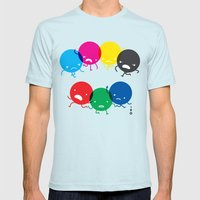 CMYK Fights RGB Mens Fitted Tee Light Blue SMALL