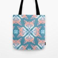 Pastel Fox Pattern Tote Bag