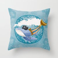 Ballena Pirata Throw Pillow