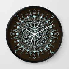 Aqua Leaf Star Mandala Wall Clock