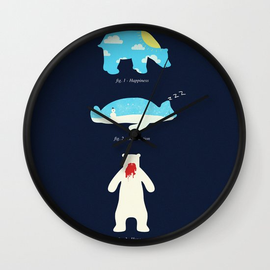 The 3 H's of Bear Life Wall Clock