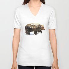 Arctic Grizzly Bear Unisex V-Neck