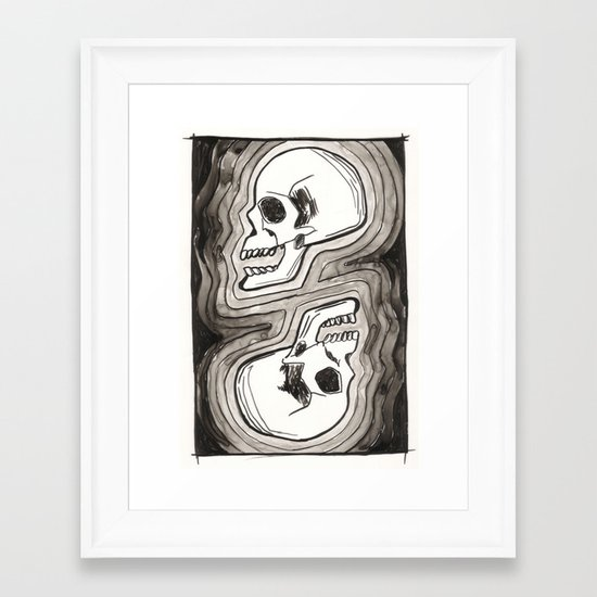 Two Skulls Framed Art Print