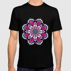 Black and White Flower in Magenta Mens Fitted Tee SMALL Black