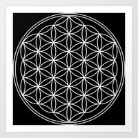 Black White Flower of Life Art Print