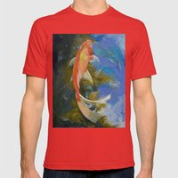Butterfly Koi Painting Mens Fitted Tee Red SMALL