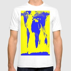 World Map Yellow & Blue Mens Fitted Tee White SMALL