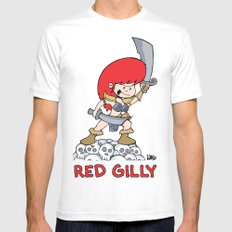 Red Gilly! SMALL White Mens Fitted Tee