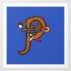 Medieval Squirrel letter P Art Print