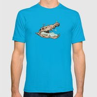 Animal Skull And Birds Mens Fitted Tee Teal SMALL