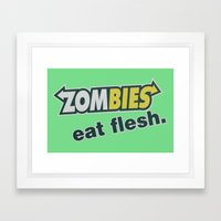 Zombie Eat Flesh Framed Art Print
