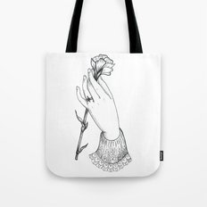 Hand Holding Flower Tote Bag
