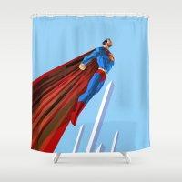 Man Up (blue steel variant) Shower Curtain