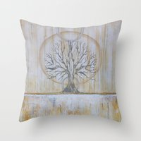 Solstice - Gold and Grey Textured Painting - Abstract Tree Landscape Throw Pillow