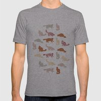 Cats Pattern Mens Fitted Tee Athletic Grey SMALL