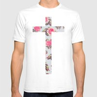 Floral Cross Mens Fitted Tee White SMALL