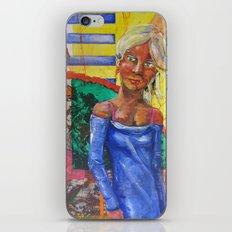 Girl in blue dress iPhone & iPod Skin