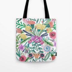 Flower burst, Illustration, print, art, pattern, floral, flowers, colour, painting, design, Tote Bag