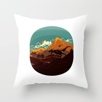 Jurassic Escape Throw Pillow