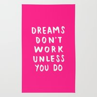 Dreams Don't Work Unless You Do - Pink & White Typography 02 Rug