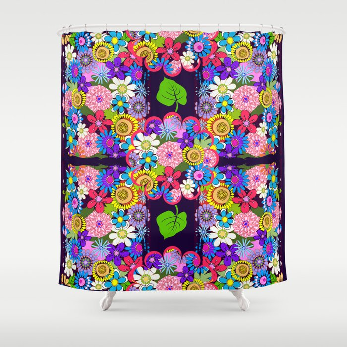 cute colourful flowers shower curtain by thea walstra