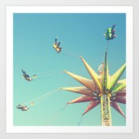Flying Chairs At The Car… Art Print