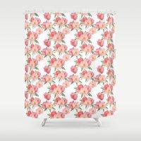 Pretty Pink Garden Flowers Watercolor   Shower Curtain