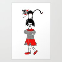 Girl With A Cat Art Print